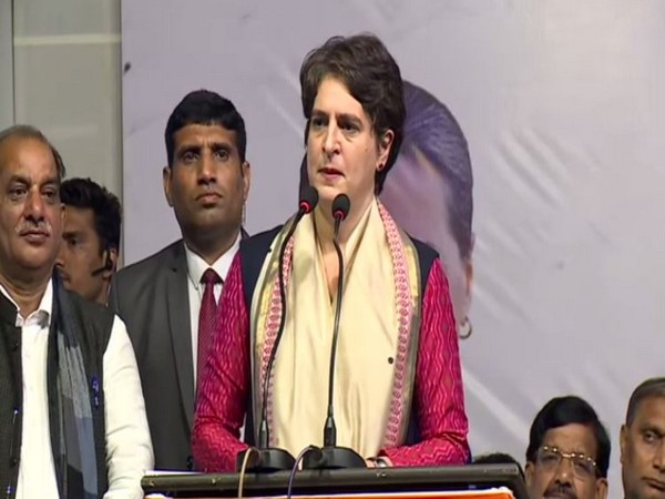 Congress leader Priyanka Gandhi Vadra speaking at an election rally in New Delhi on Tuesday. Photo/ANI