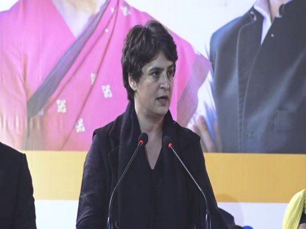 Congress leader Priyanka Gandhi Vadra speaking at a public meeting in New Delhi on Wednesday. Photo/ANI