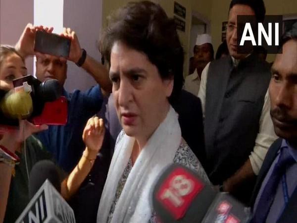 Congress leader Priyanka Gandhi speaking to reporters in New Delhi on Wednesday.