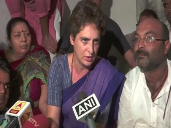 Congress leader Priyanka Gandhi talking to reporters at the Guest House on Friday. Photo/ANI