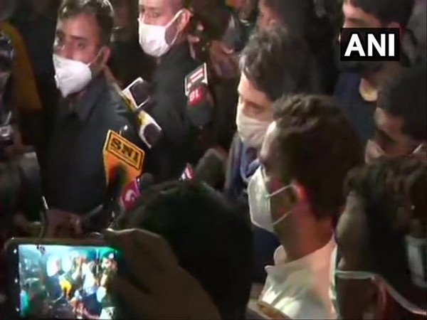Congress leader Priyanka Gandhi Vadra speaking to reporters in Hathras on Saturday. Photo/ANI