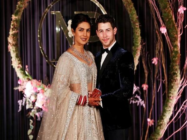 Priyanka Chopra and her husband Nick Jonas at their wedding reception in New Delhi