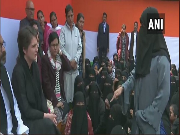 Priyanka Gandhi interacts with Anti-CAA Protesters in UP's Azamgarh on Wednesday (ANI)