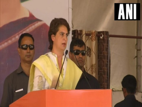 Congress leader Priyanka Gandhi Vadra addressing public rally in Bathinda