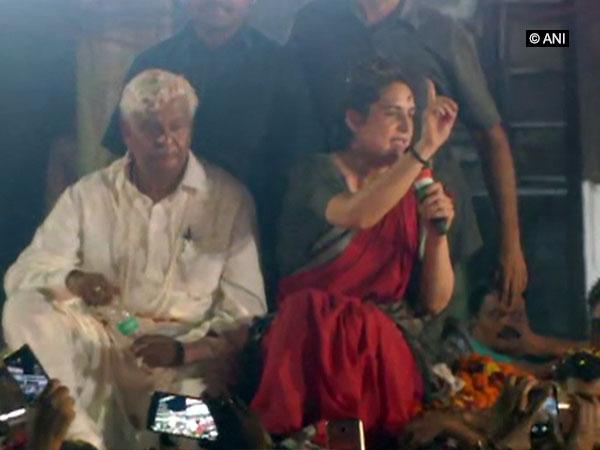 Congress leader Priyanka Gandhi addressing an election rally in Kanpur, Uttar Pradesh on Friday. Photo/ANI
