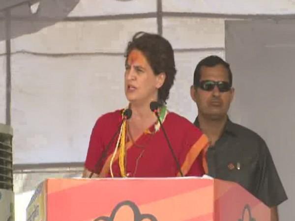 Congress general secretary Priyanka Gandhi Vadra addressing a rally in Ratlam on Monday. (Photo/ANI)