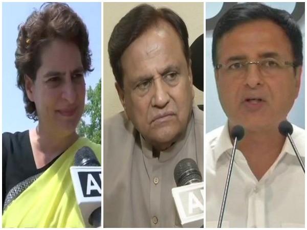 Congress general secretary Priyanka Gandhi, Rajya Sabha MP Ahmed Patel and party spokesperson Randeep Singh Surjewala (File photo)