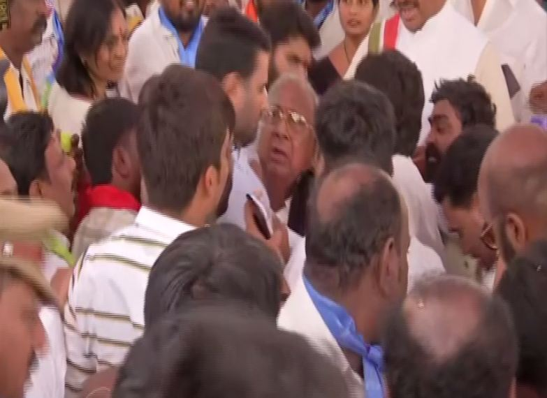 Visual of a scuffle that broke between two Congress leaders in Telangana