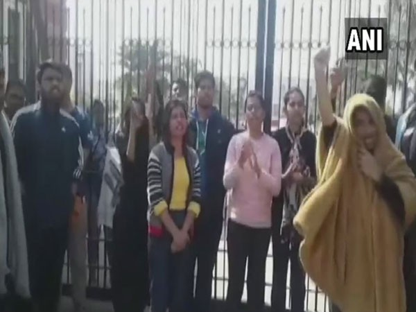 Patiala Law University students continued to protest  against the suspension of six students. Photo: ANI