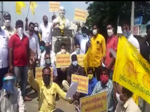 A protest organised by Telugu Desam Party (TDP) members in Srikakulam on Saturday.