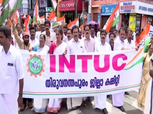 United Trade Unions stage a protest march against new labour bills in Trivandrum  on Friday