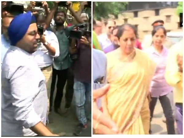 Depositors of Punjab and Maharashtra Cooperative held a protest outside the BJP office (Right) during the visit of Finance Minister Nirmala Sitharaman (Left). (Photo/ANI)