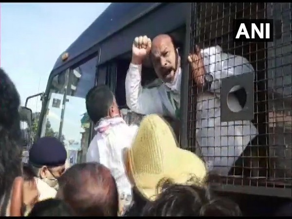 Workers being detained by Karnataka Police on Monday. (Photo/ANI)