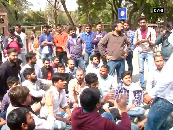 ABVP-led students protesting in the North Campus of Delhi University on Tuesday.