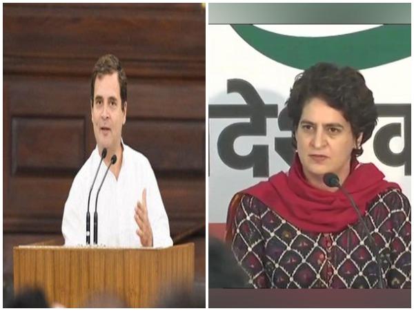 File pic of Rahul Gandhi and Priyanka Gandhi