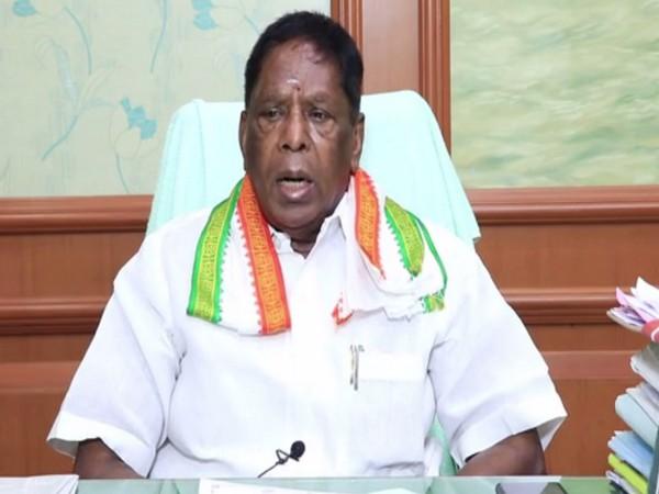 Puducherry Chief Minister V Narayanasamy addressing the reporters. Photo/ANI