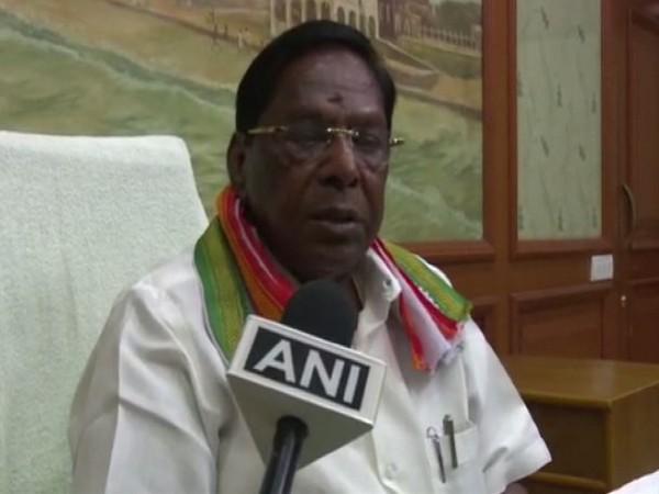 Puducherry Chief Minister V Narayanasamy speaking to ANI on Wednesday. Photo/ANI