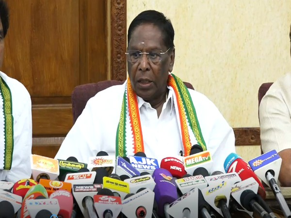Puducherry Chief Minister V Narayanasamy talking to reports at a press conference on Friday.