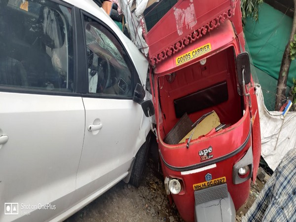 One killed, four injured after a car rammed into them in Pune on Sunday. Photo/ANI