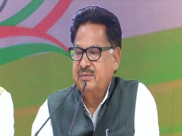 Congress leader PL Punia addressing a press conference in New Delhi on Monday (Photo/ANI)