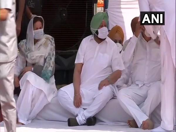Punjab CM Amarinder Singh held protest against Farm Laws on Monday. Photo/ANI