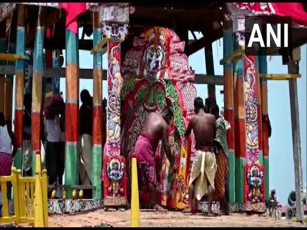 Preparation of Ratha Yatra at Jagannath Temple, Puri. (Photo/ANI)
