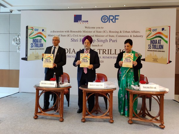 Union Minister Hardeep Singh Puri launching 'India at $5 Trillion - Strengthening Opportunities, Removing Hurdles' report in New Delhi on Thursday. Photo/ANI