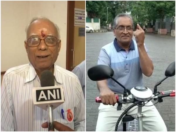 Purushottam Joshi in Gondia (L); a senior citizen casting his vote in Mumbai (R). Photo/ANI