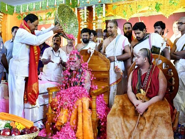 Telangana Chief Minister K Chandrashekar Rao attends Pushpabhishekam program