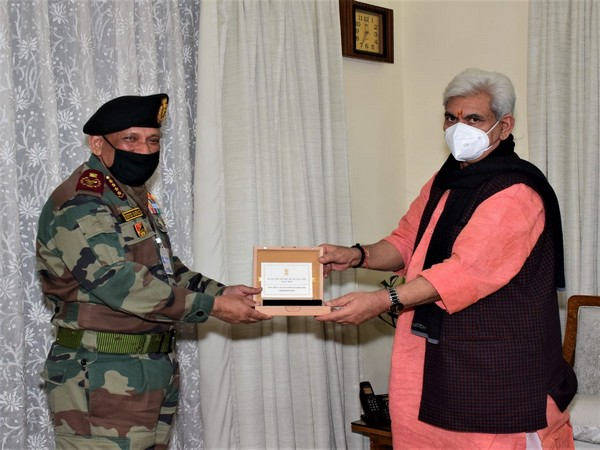Chief of Defence Staff General Bipin Rawat met Lieutenant Governor Manoj Sinha at Raj Bhawan in Jammu on Tuesday. (Photo/ANI)