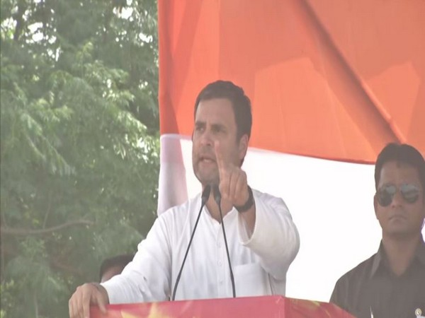 Congress chief Rahul Gandhi speaking at an election rally in Samastipur (Image/ANI)