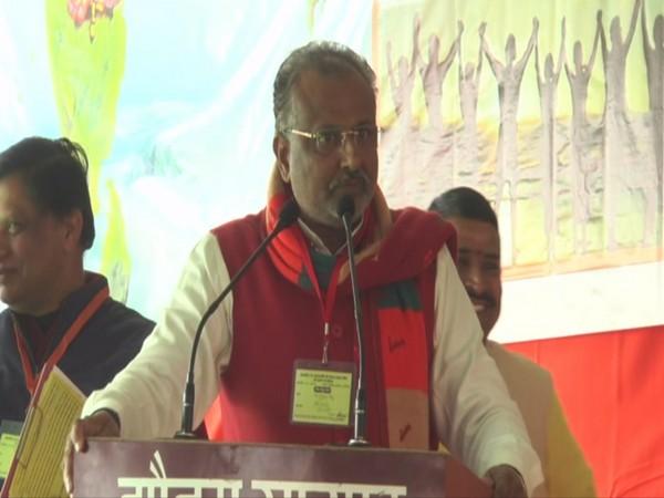Uttar Pradesh Minister Raghuraj Singh addressing a public gathering in Aligarh, UP on Sunday. Photo/ANI