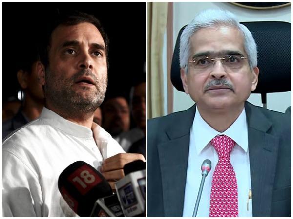 Rahul Gandhi, left, RBI Governor Shaktikanta Das