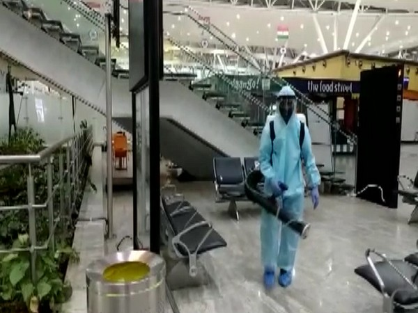 CWC disinfects SV Airport in Raipur as flight operations resumed today. [Photo/ANI]