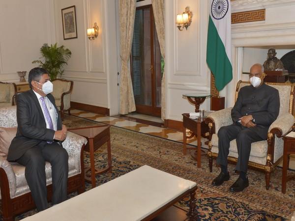 President Ram Nath Kovind with UPSC Chairman Dr Pradeep Kumar Joshi