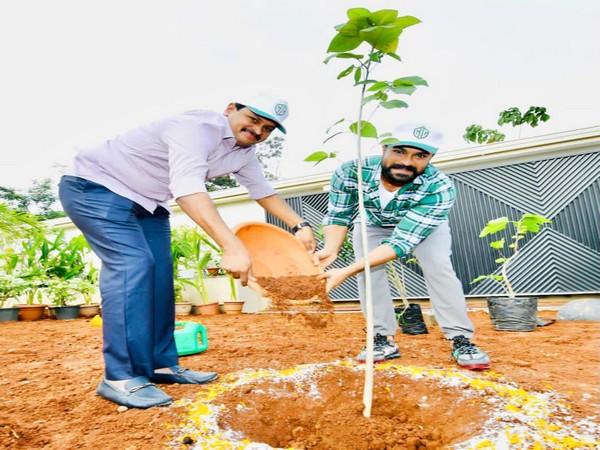Mega movie star Ram Charan on Sunday participated in Green India Challenge along with Rajya Sabha MP Joginapally Santosh Kumar.