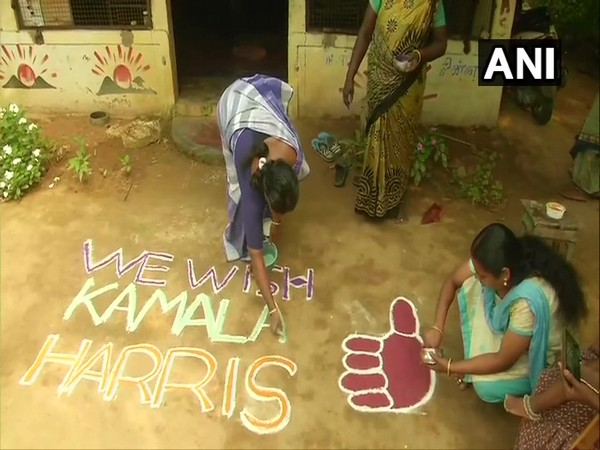 The 'rangoli' made in support of Kamla Harris, the US Democratic vice presidential nominee