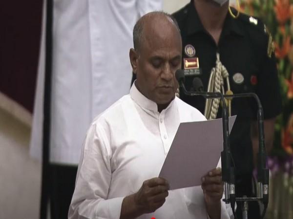 Rajya Sabha MP Ram Chandra Prasad Singh taking oath as Union Minister at Rashtrapati Bhavan.