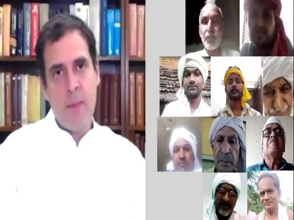 A visual from Rahul Gandhi's interaction with farmers. Photo/ANI