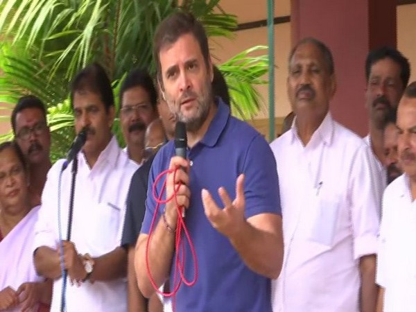 Congress MP from Wayanad Rahul Gandhi in a local school on Thursday in Wayanad in Kerala. Photo/ANI
