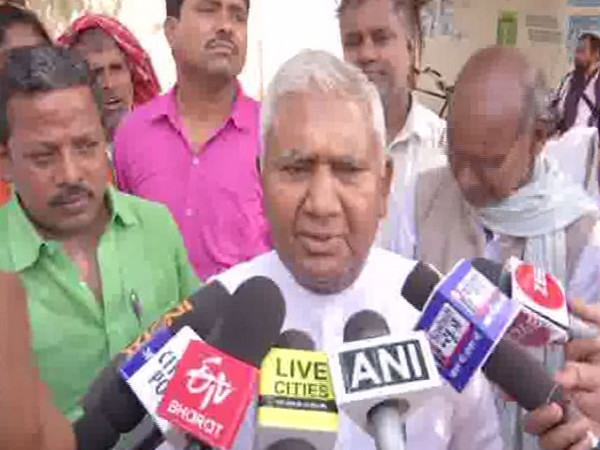 RJD leader Ram Chandra Purve while speaking to media persons in Patna, Bihar on Tuesday. Photo/ANI