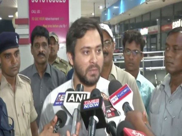 RJD leader Tejashwi Yadav speaking to reporters in Patna, Bihar on Wednesday. Photo/ANI