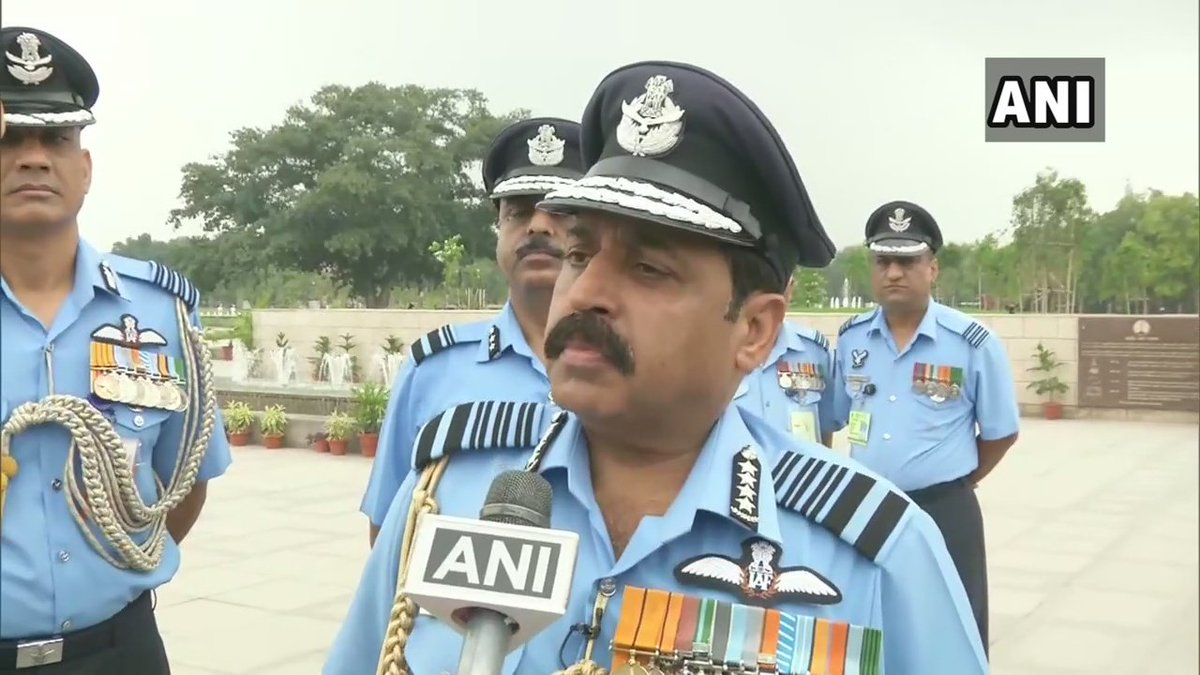 Air Chief Marshal RKS Bhadauria speaking to ANI in New Delhi on Monday. Photo/ANI