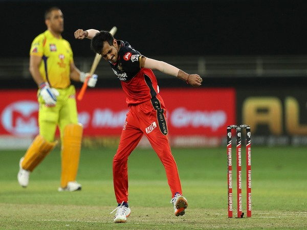 RCB spinner Yuzvendra Chahal celebrates after dismissing MS Dhoni (Photo/ iplt20.com)