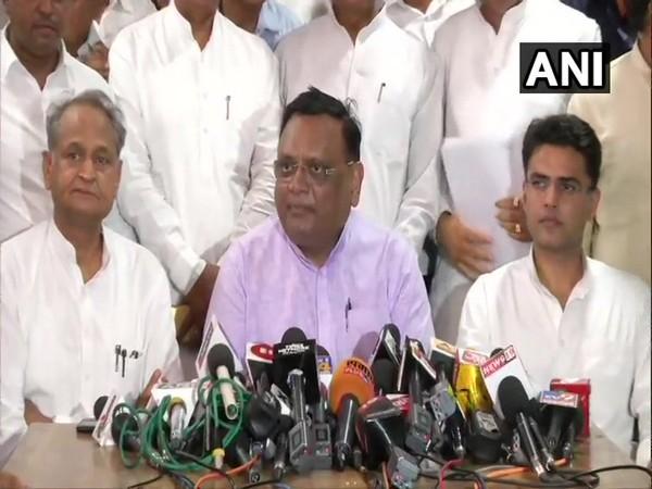 Rajasthan Pradesh Congress Committee (RPCC) members while speaking to media persons in Jaipur, Rajasthan on Wednesday. Photo/ANI