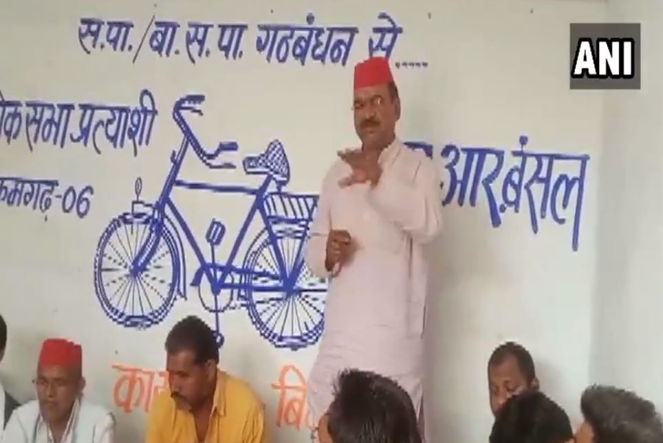 SP candidate from Tikamgarh RR Bansal interacting with party workers in Chattarpur on Tuesday.