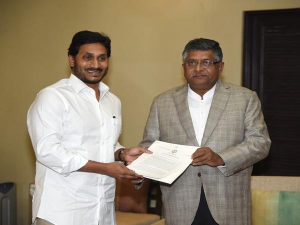 Andhra Pradesh CM YS Jagan Mohan Reddy with Union Minister Ravi Shankar Prasad on Saturday. Photo/ANI