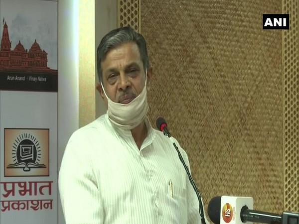 RSS Joint General Secretary Dattatreya Hosabale talking about construction of Ram temple on Friday.