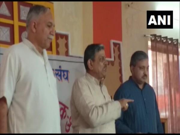 RSS joint general secretary Dattatreya Hosabale at the press conference in Pushkar on Monday. Photo/ANI
