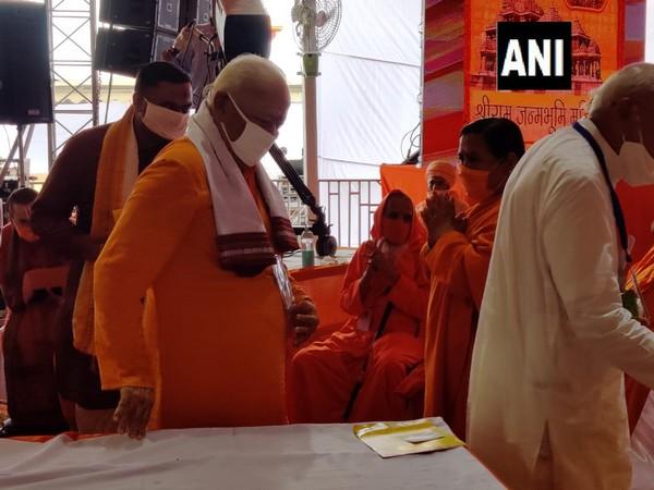 Rashtriya Swayamsevak Sangh (RSS) Chief Mohan Bhagwat reached at the Ram Janambhoomi site in Ayodhya for 'Bhoomi Pujan' on Wednesday. (Photo/ANI)